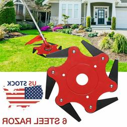 6 Steel Blades Razors 65Mn Lawn Mower Trimmer Head For Weed