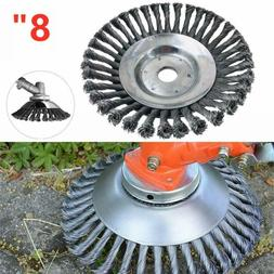 """8"""" Steel Wire Wheel Brush Grass Trimmer Head Weed Cleaning T"""