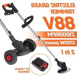 88V 1200W Electric Weed Eater Lawn Edger Cordless Grass Stri