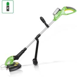 Cordless Yard Trimmer Weed Whacker Rechargeable Battery Ligh