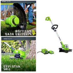Electric Cordless Weed-wacker Pivoting Weedeater Auto Line F