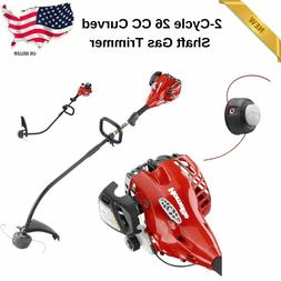 Gas Trimmer Curved Shaft Weed Wacker 2-Cycle 26 CC Weedeater