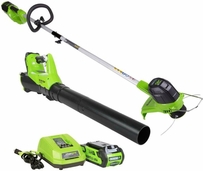 Greenworks 40V String Trimmer And Blower Combo Pack, 2.0Ah