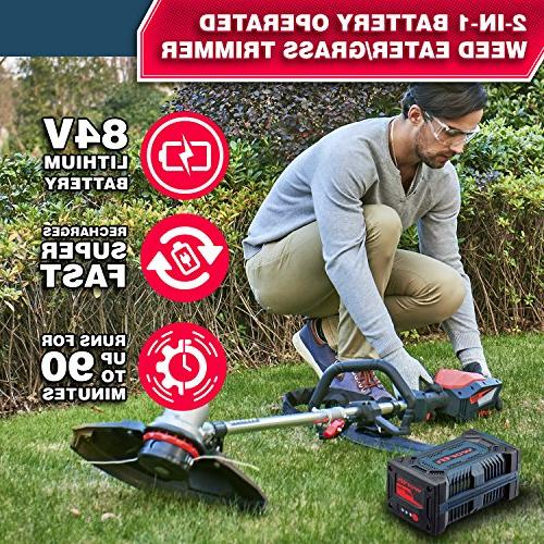 "Worth Most Powerful 15"" PowerMax 84V Weed - Cordless and - Heavy Duty Weed Eater Trimmers- Brushless Year Warranty"