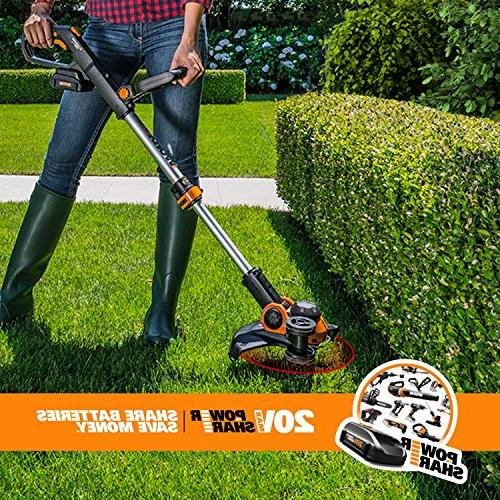 """Worx WG163 GT 20V Grass Trimmer/Edger with Command 12"""", 2 Included"""