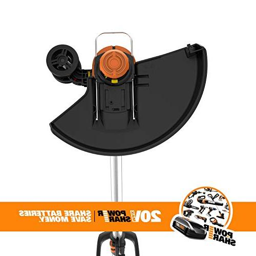"""Worx GT 20V Cordless Grass Trimmer/Edger with Feed, 12"""", 2 Batteries Included"""